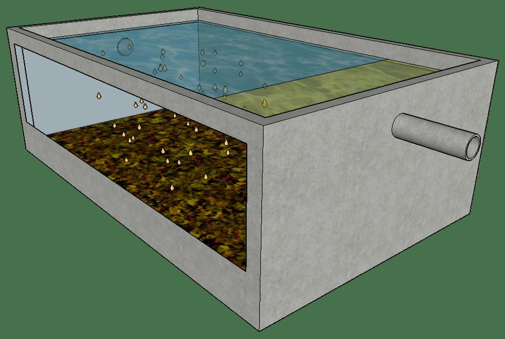 representation decantation boue station epuration dans un decanteur primaire