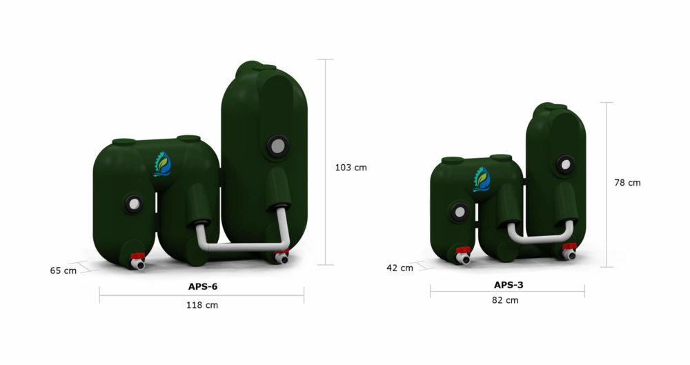 Petits filtres à billes compacts pour aquaponie DIMENSIONS aps3 aps6 1h2o3