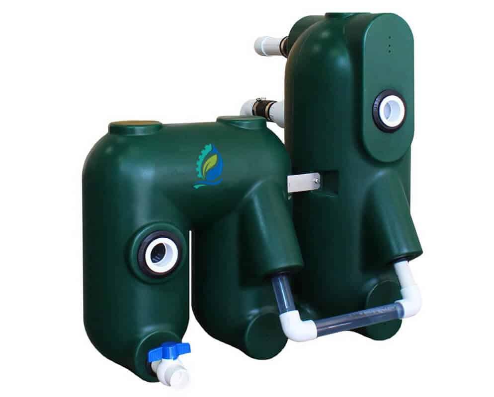 Petits filtres à billes compacts pour aquaponie vue cote 1h2o3