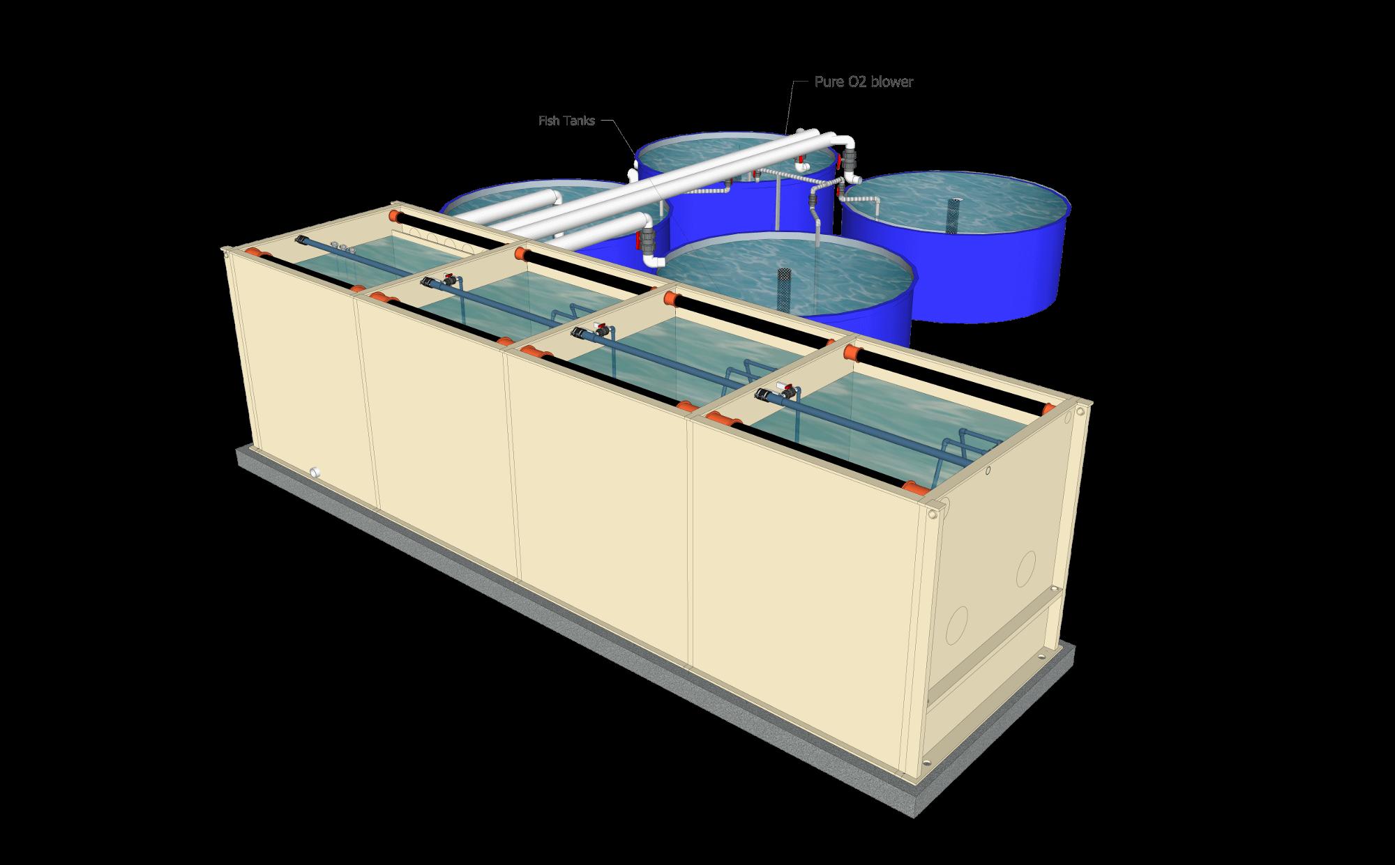 Études et conception de filtres RAS aquaculture aquaponie 1h2o3