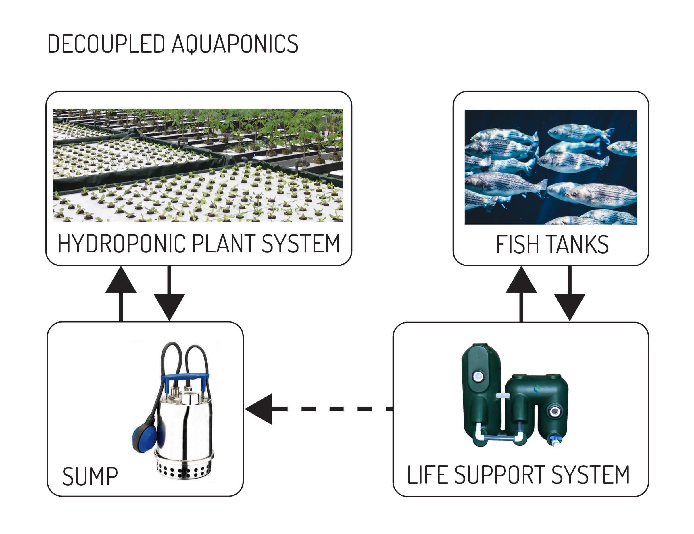aquaponics decoupled diagram 1h2o3