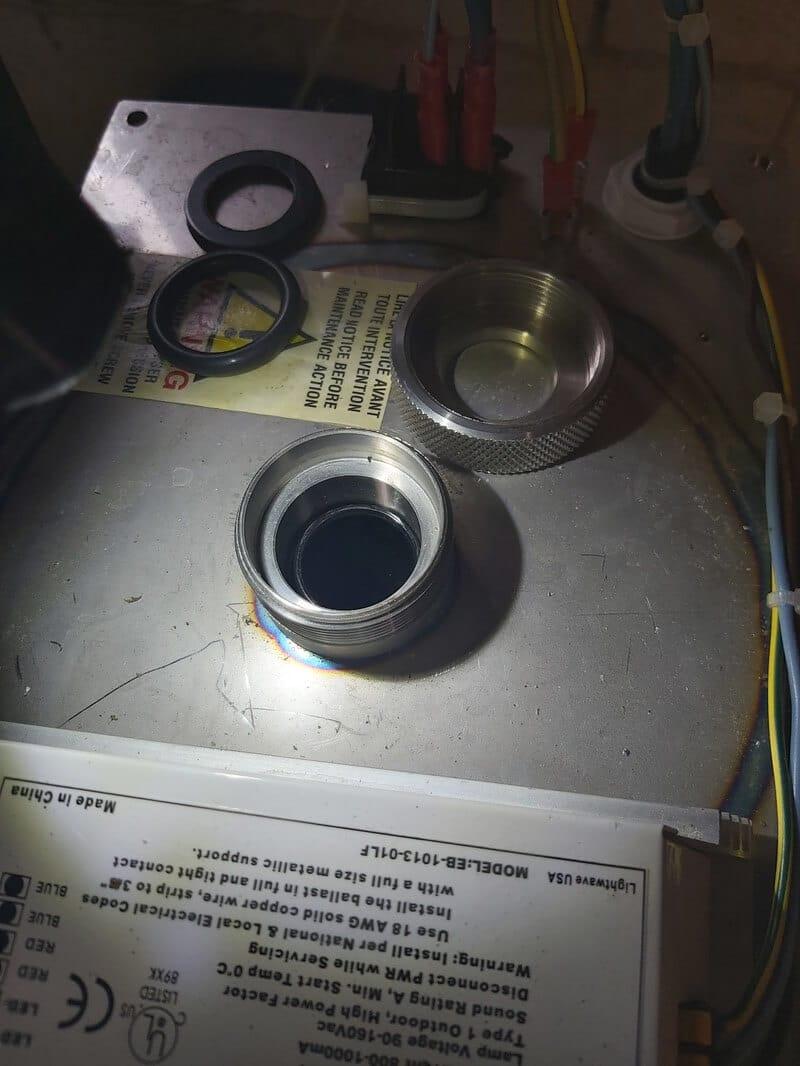 Vue d'une gaine quartz installée sans coupelle anti vibration 1h2o3