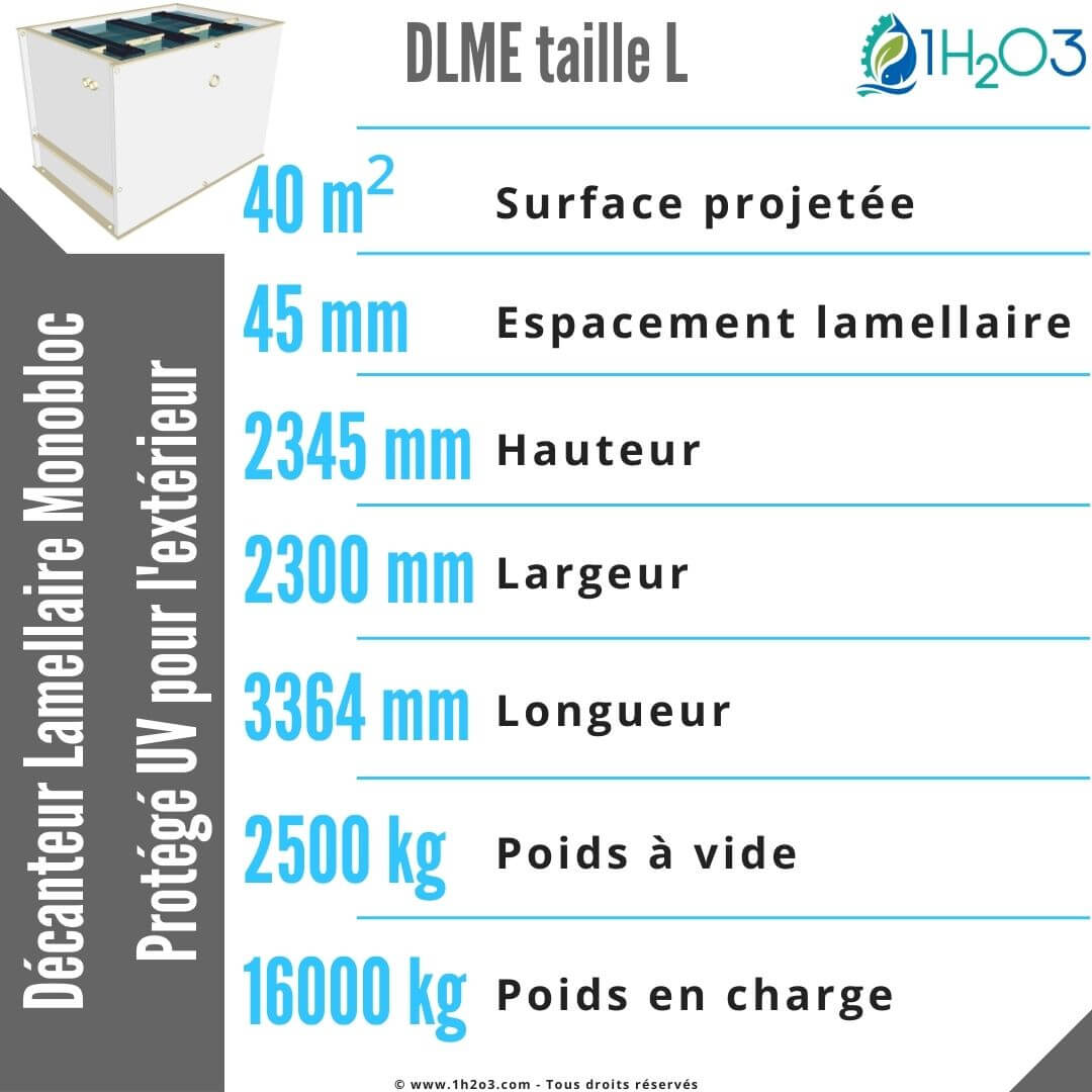 Décanteur lamellaire monobloc L extérieur - DLME-L 40 m² 1h2o3