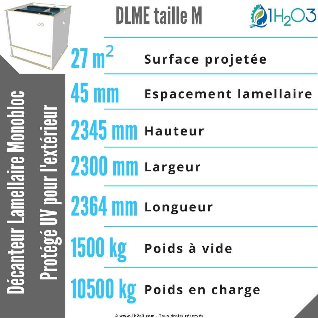 Décanteur lamellaire monobloc M extérieur - DLME-M 27 m² 1h2o3