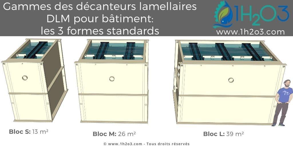 taille S M L des décanteurs lamellaires monoblocs DLM 1h2o3
