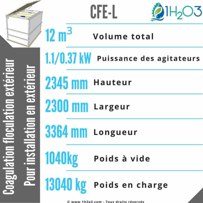 Coagulation floculation extérieur CFE-L-12m³-1h2o3
