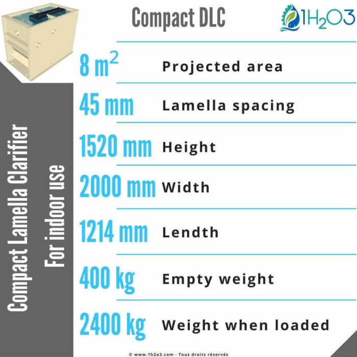 Compact Lamella clarifier DLC-8 m² 1h2o3