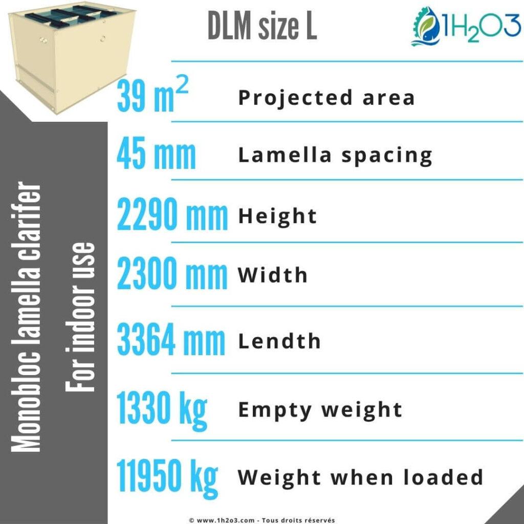 Lamella clarifier monobloc L - DLM-L 40 m² 1h2o3