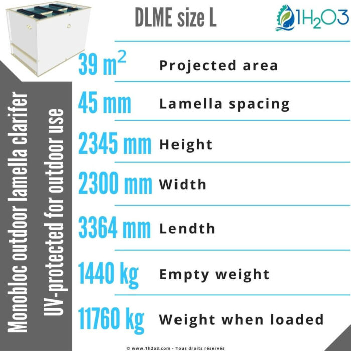 Lamella clarifier monobloc L outdoor - DLME-L 39 m² 1h2o3