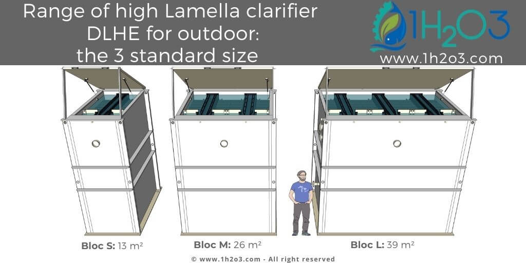 Range of high lamella clarifiers DLHE for outdoor 1H2O3