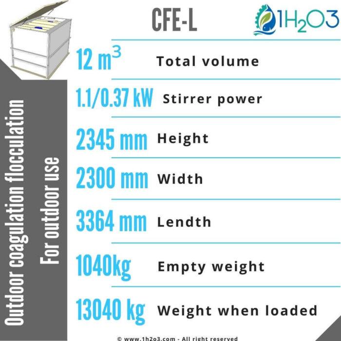Outdoor coagulation flocculation CFE-L-12m³-1h2o3