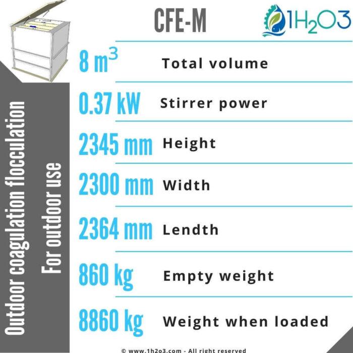 Outdoor coagulation flocculation CFE-M-8m³-1h2o3